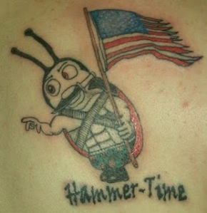 Cartoon ladybug soldier tattoo