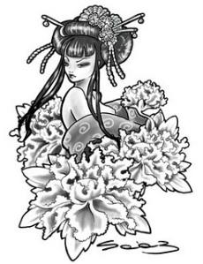 Beautiful Japanese Geisha Tattoos Design 3