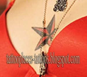 CHEST TATTOOS for girls chest star tattoos. Behind the ear & back of neck.