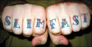 Slim fast knuckle tattoo.
