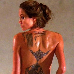 Angelina jolie s tattoos show actress is worth her salt
