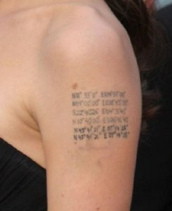 Angelina Jolie's Geocaching Tattoo of tattoo design: