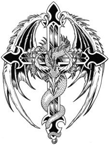Women Cross Tattoos Designs Angel cross tattoo spreading wings on the back