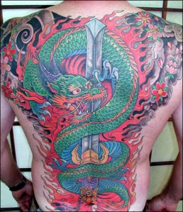 Mistress with symbols Yakuza mythology style neck tattoo of an Aka Oni from