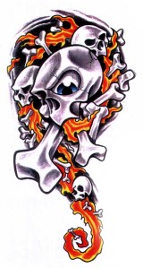Flaming Skull 2. If you like this tattoo picture, please consider