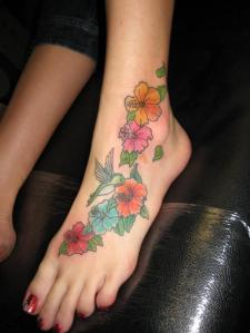 star flower foot tattoo Cute star