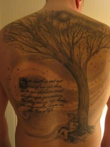back tattoos, tree tattoo designs, tree tattoos, tattoos for mens, lettering