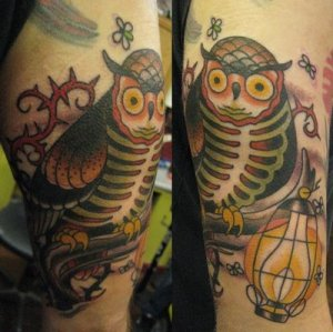 New School Owl Tattoo Designs
