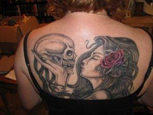 Dance pose kokopelli tattoo. The tattoo not her. Well both.