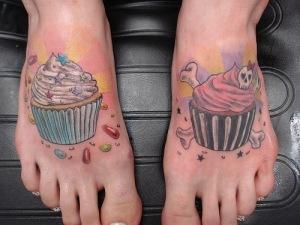 Foot tattoos.