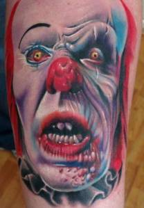 Killer Clown Tattoos but that also to see a clown in a sewer trying to get