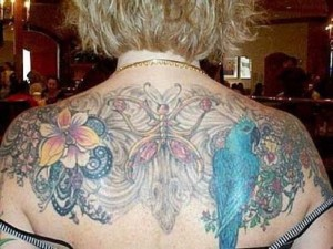 Models Extreme Full Back Tattoo