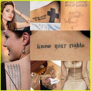Just look at the tattoos on Angelina Jolie's body. So many!